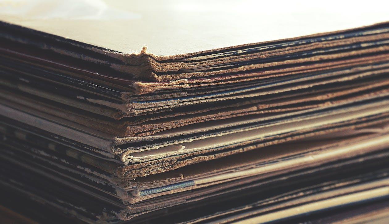 akcia, detailný záber, gramofónové platne