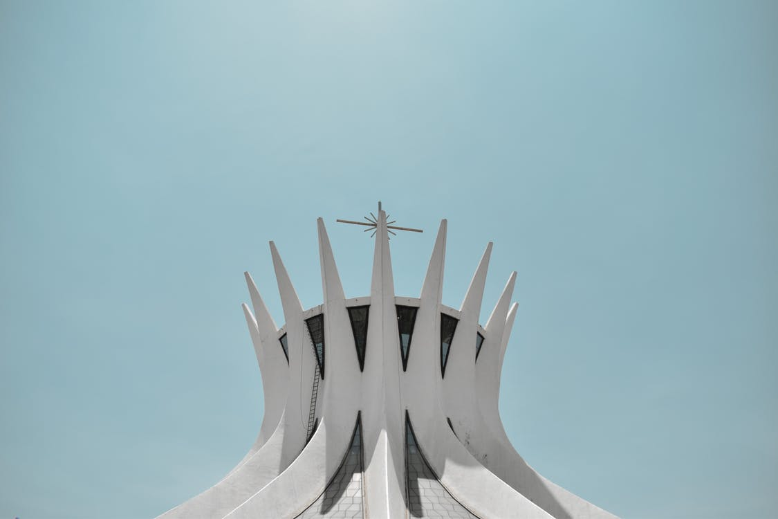 architektúra, betón, biela