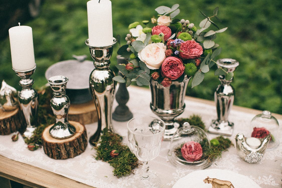 blomster, blomsterarrangement, bord