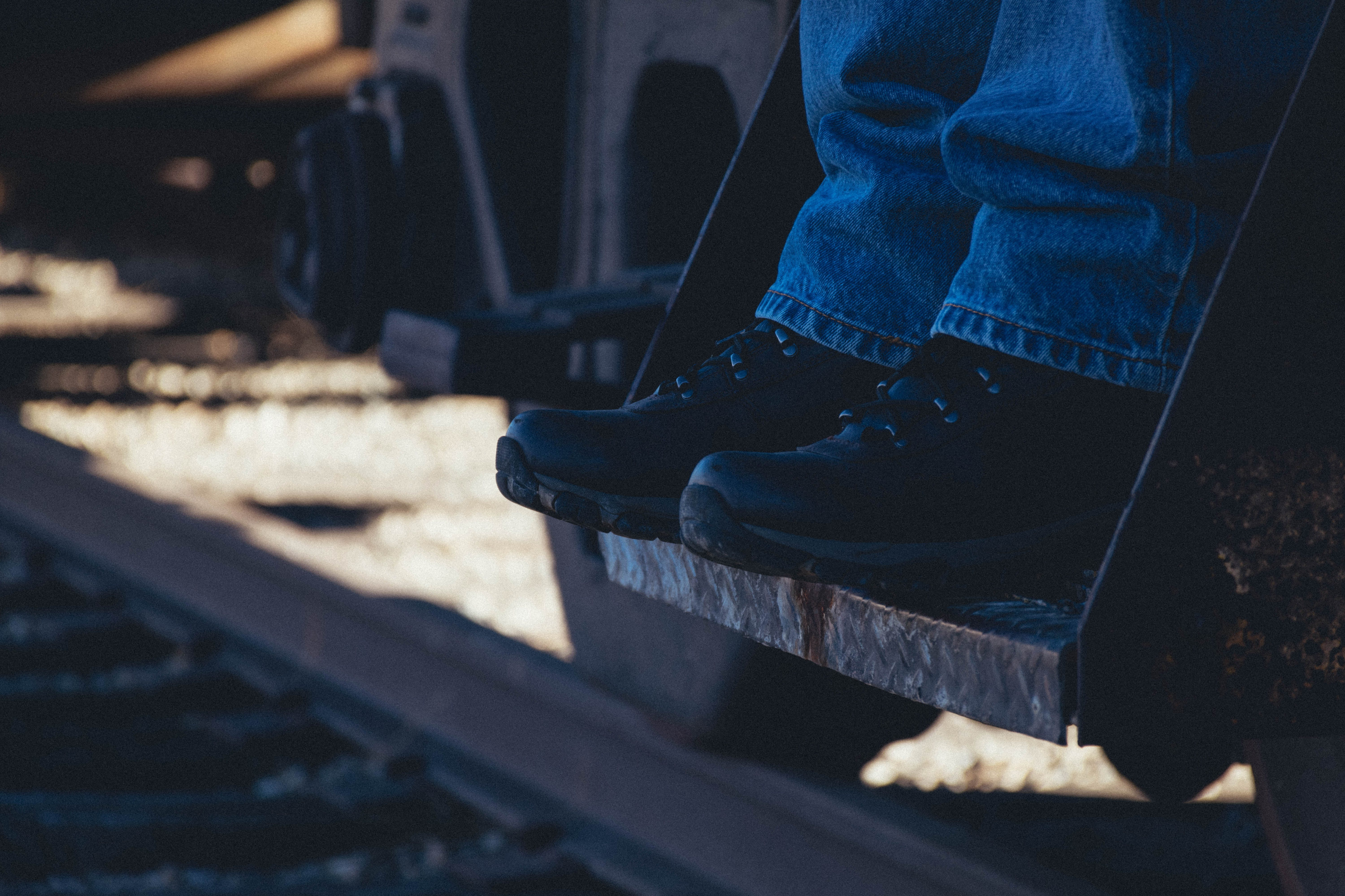 Free stock photo of feet, railroad, shoes, steps