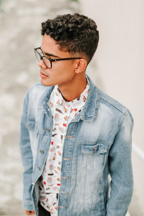 Men's Blue Denim Button Up Jacket