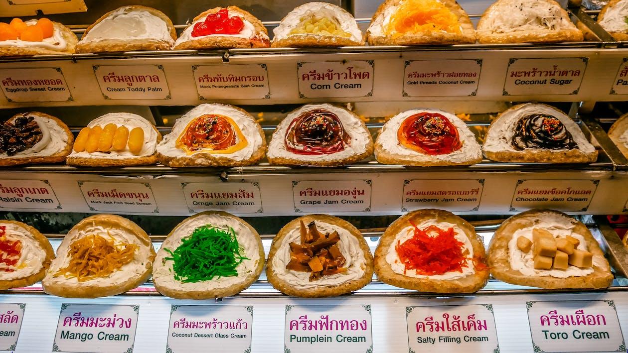 colorful, desert, Thai sweets