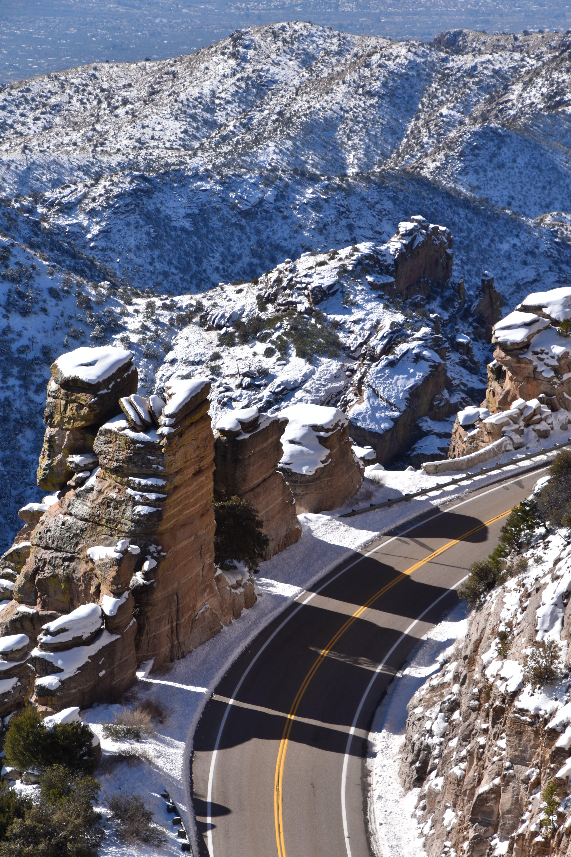 冬, 山, 影, 道路の無料の写真素材