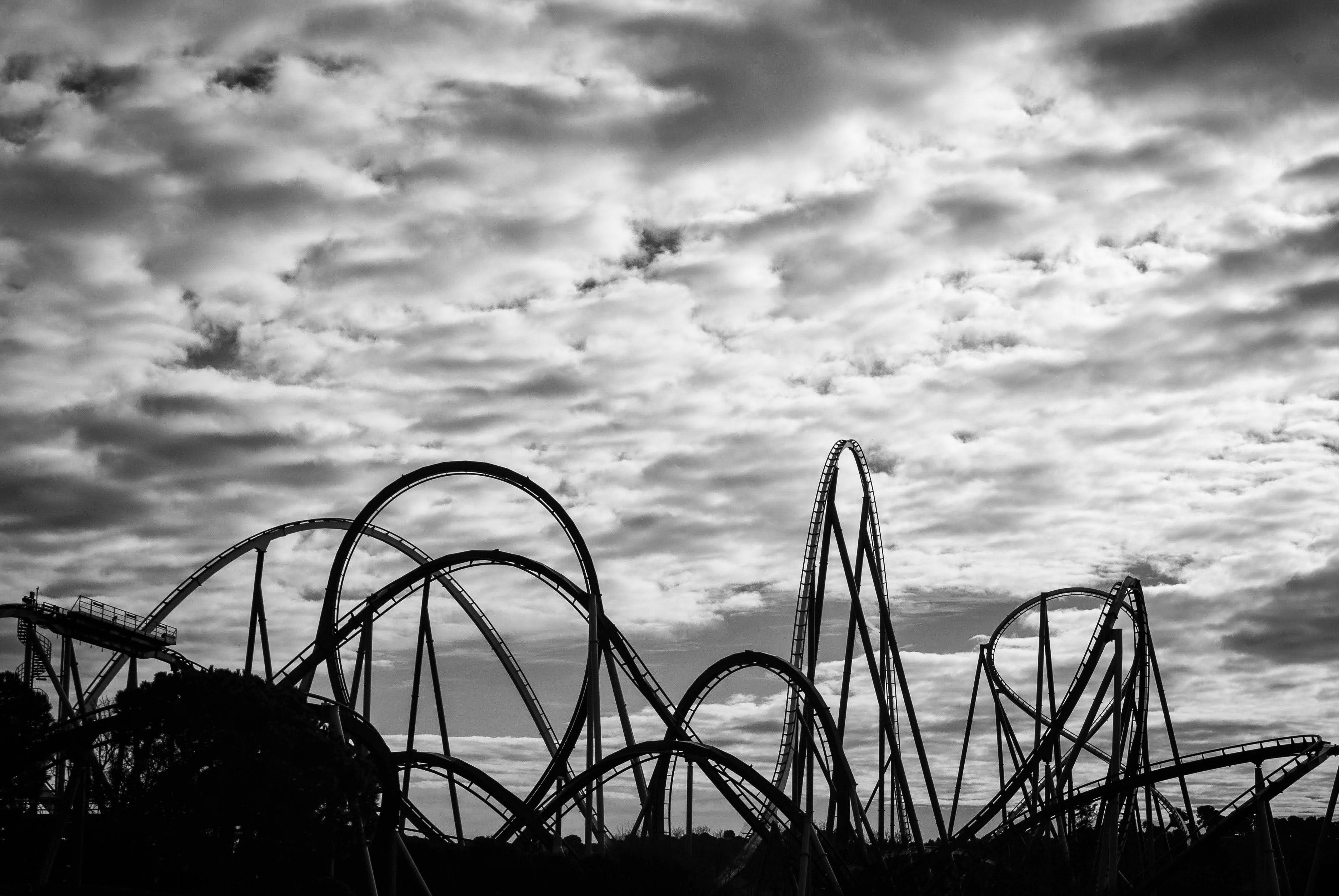 Free stock photo of amusement park, black and white, clouds, contrast