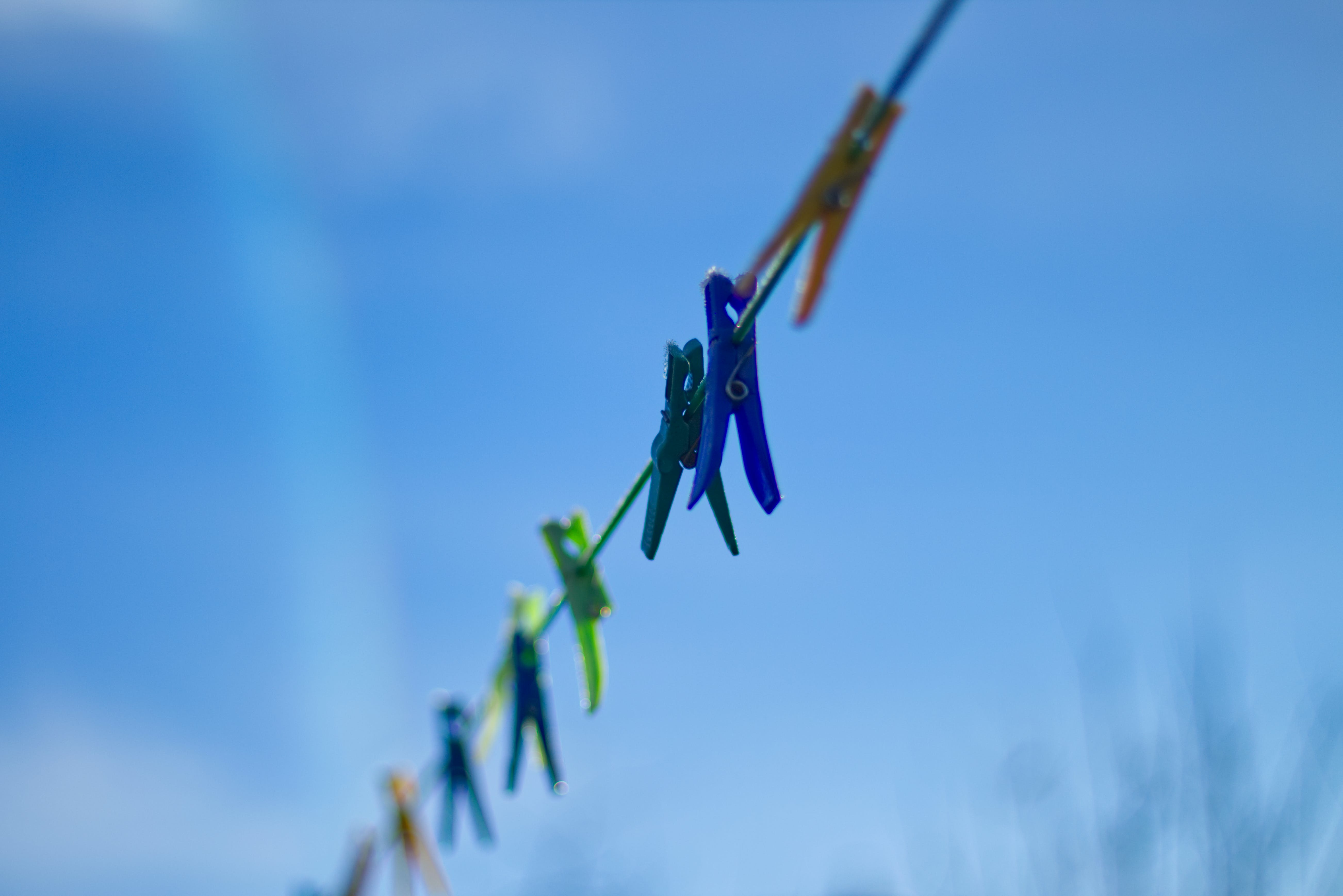 Free stock photo of blue sky, clothespin, colorful