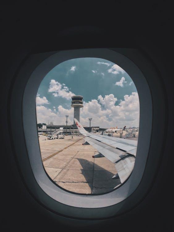 aeroplani, aeroporto, ala di velivolo