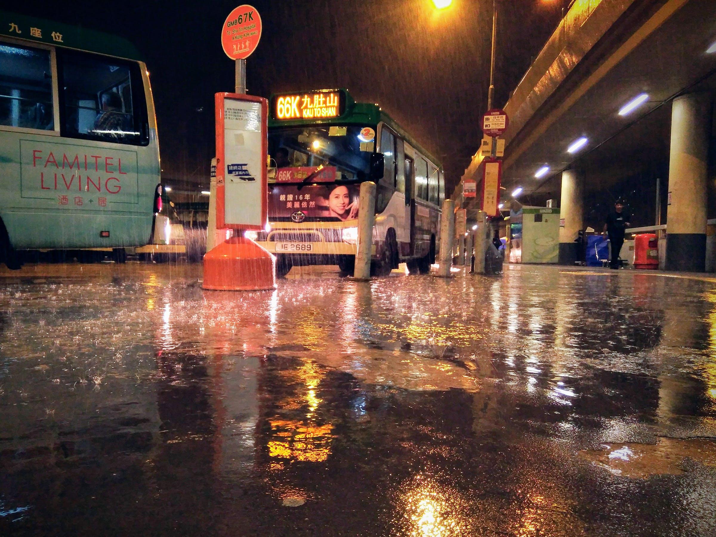 Free stock photo of hong kong, night, rain, stop