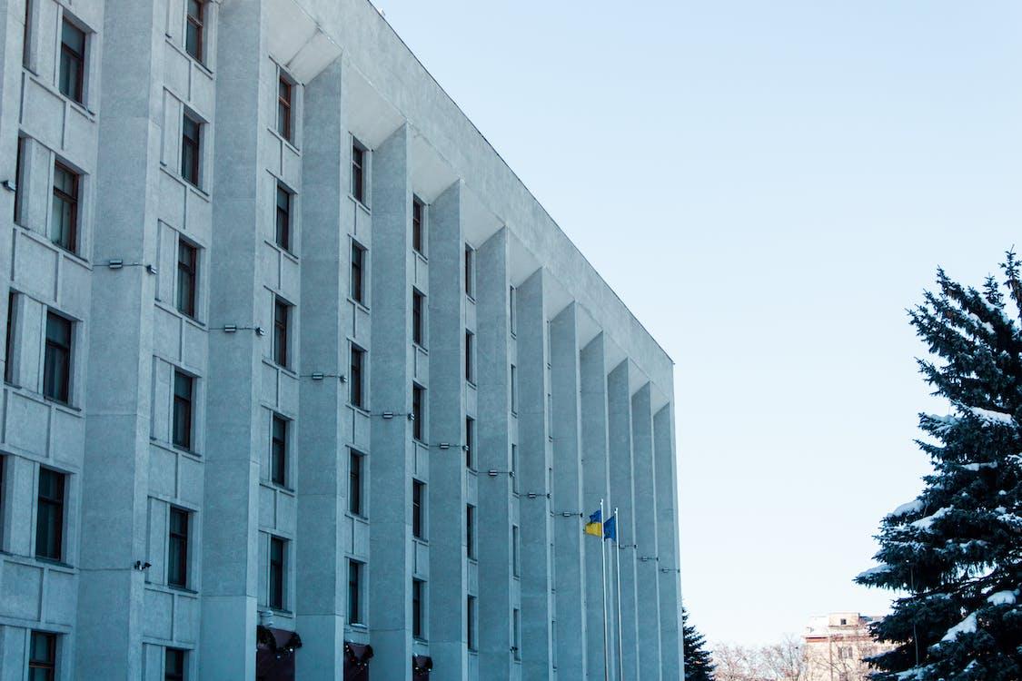 cel blau, ciutat, edifici
