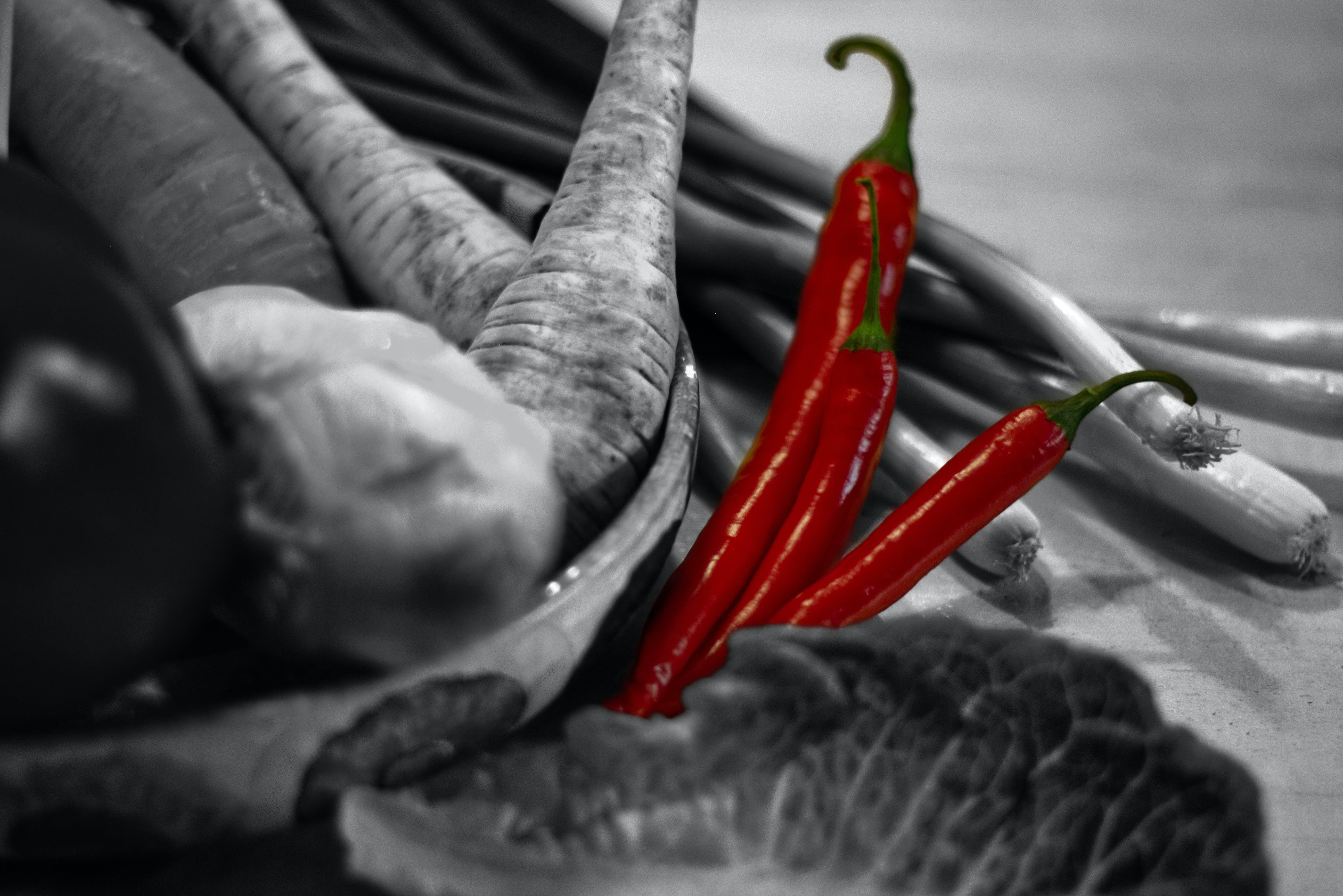 Free stock photo of black&white, chilli, red