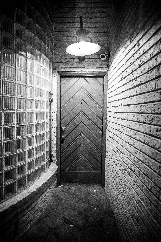 Monochrome Photo of Hallway