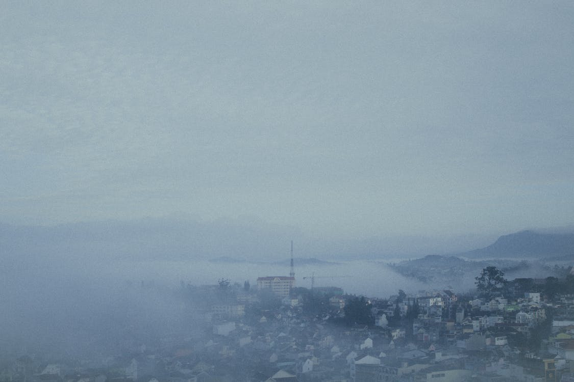 view of a foggy town
