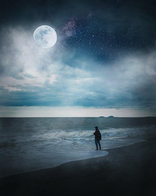 Imagine de stoc gratuită din Adobe Photoshop, apă, atmosferă sumbră, Calea Lactee