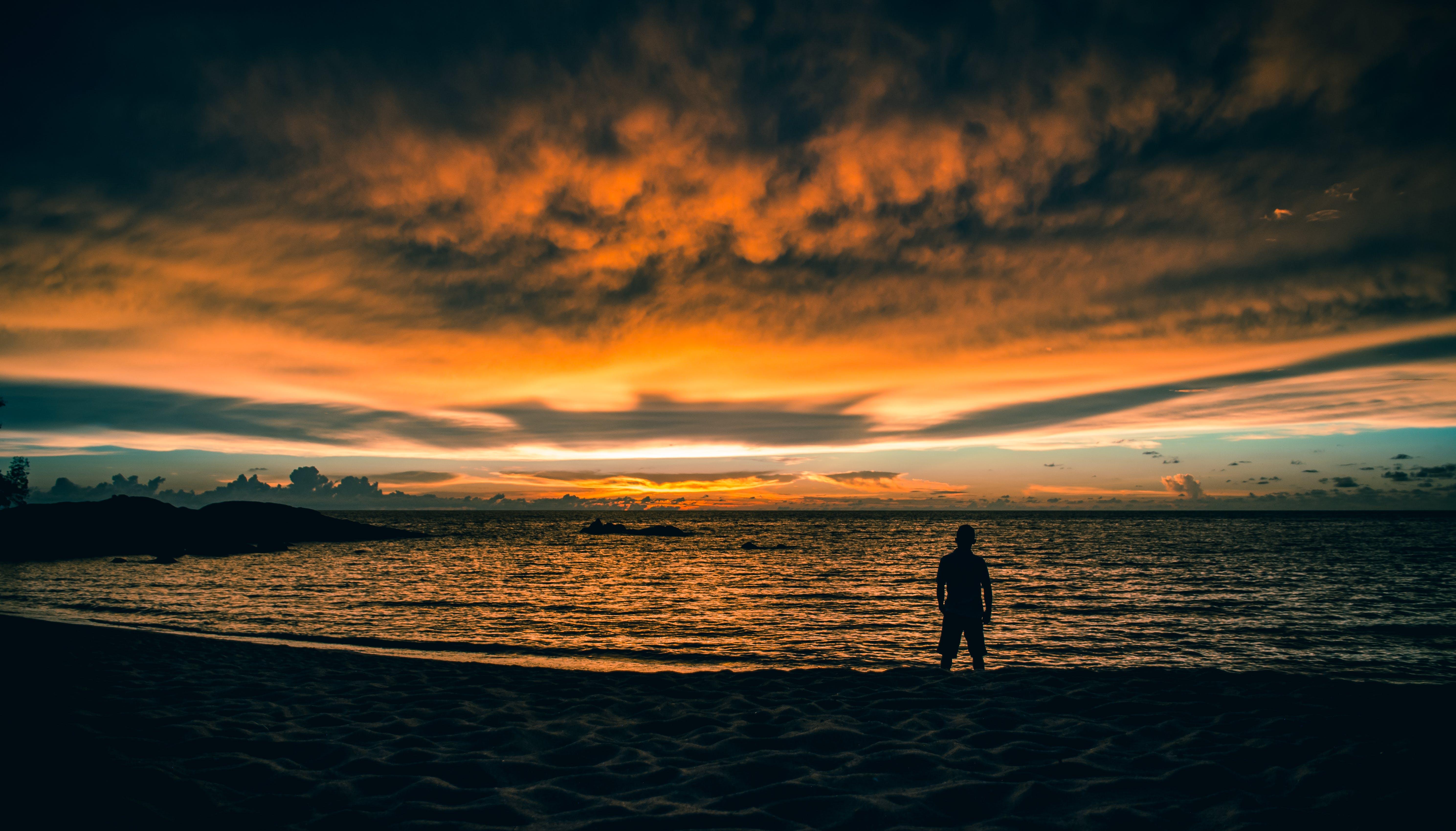 Free stock photo of beach, Dark Sky, golden hour, golden sunset