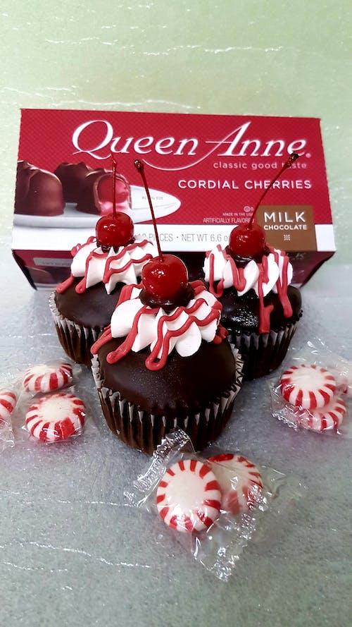 #cupcake #dessert #cake #cherry #chocolate 的 免費圖庫相片