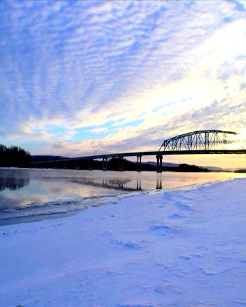 #bridge #water #sky #clouds #snow #winter 的 免費圖庫相片