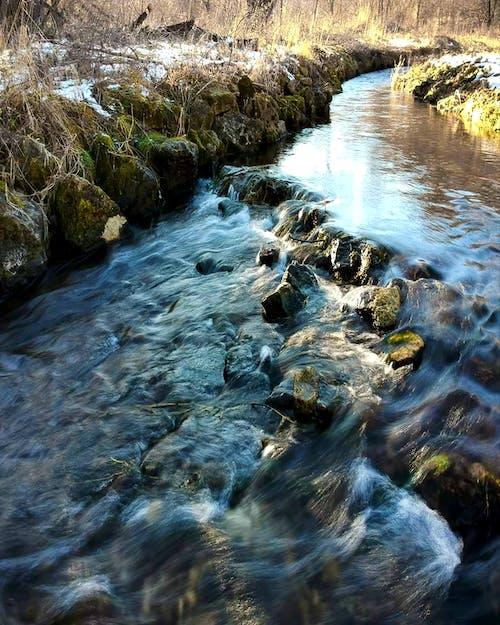#nature #sky #creek #snow #winter #stream 的 免費圖庫相片