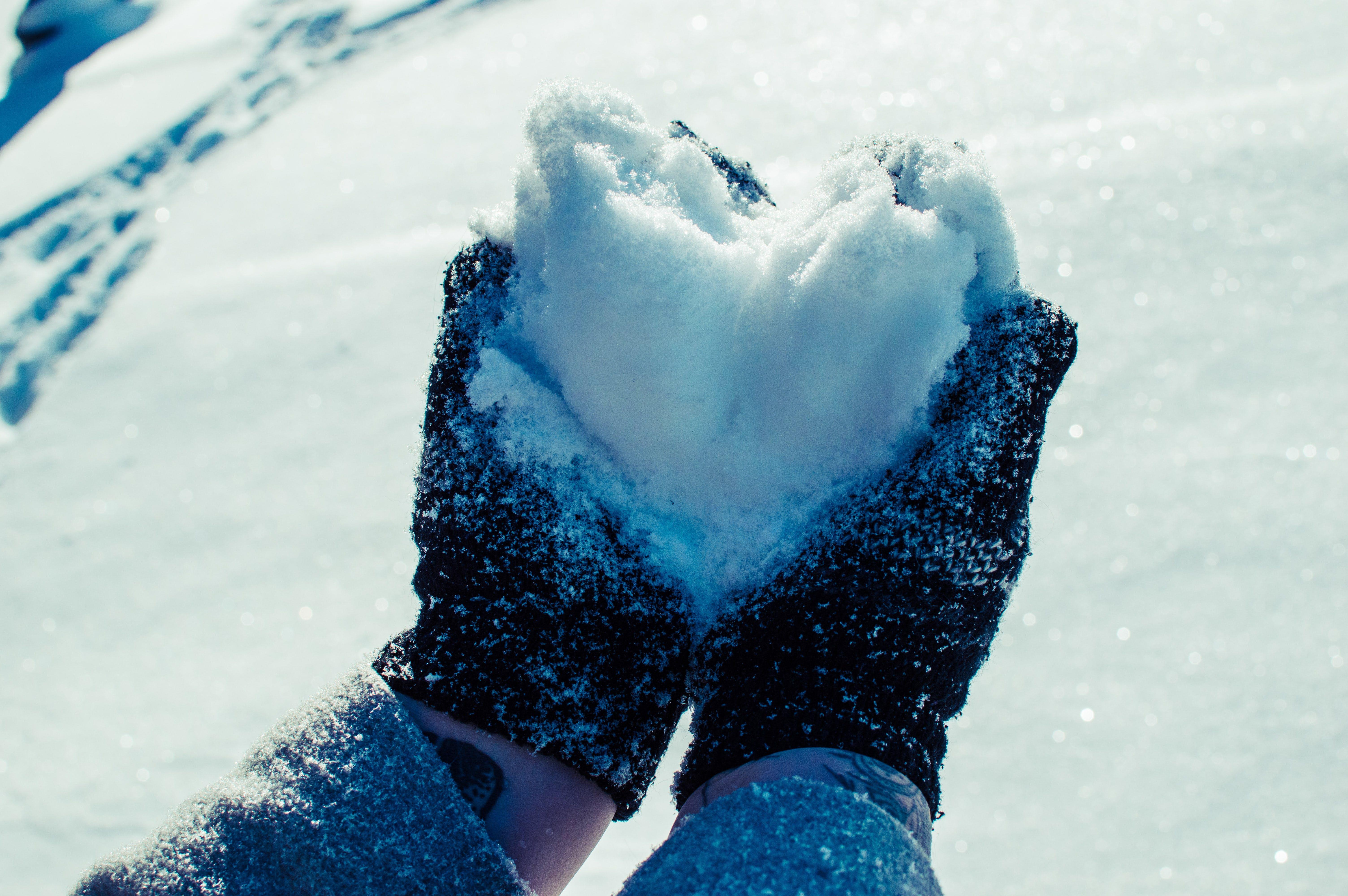 Free stock photo of heart, snow, snowheart, winter