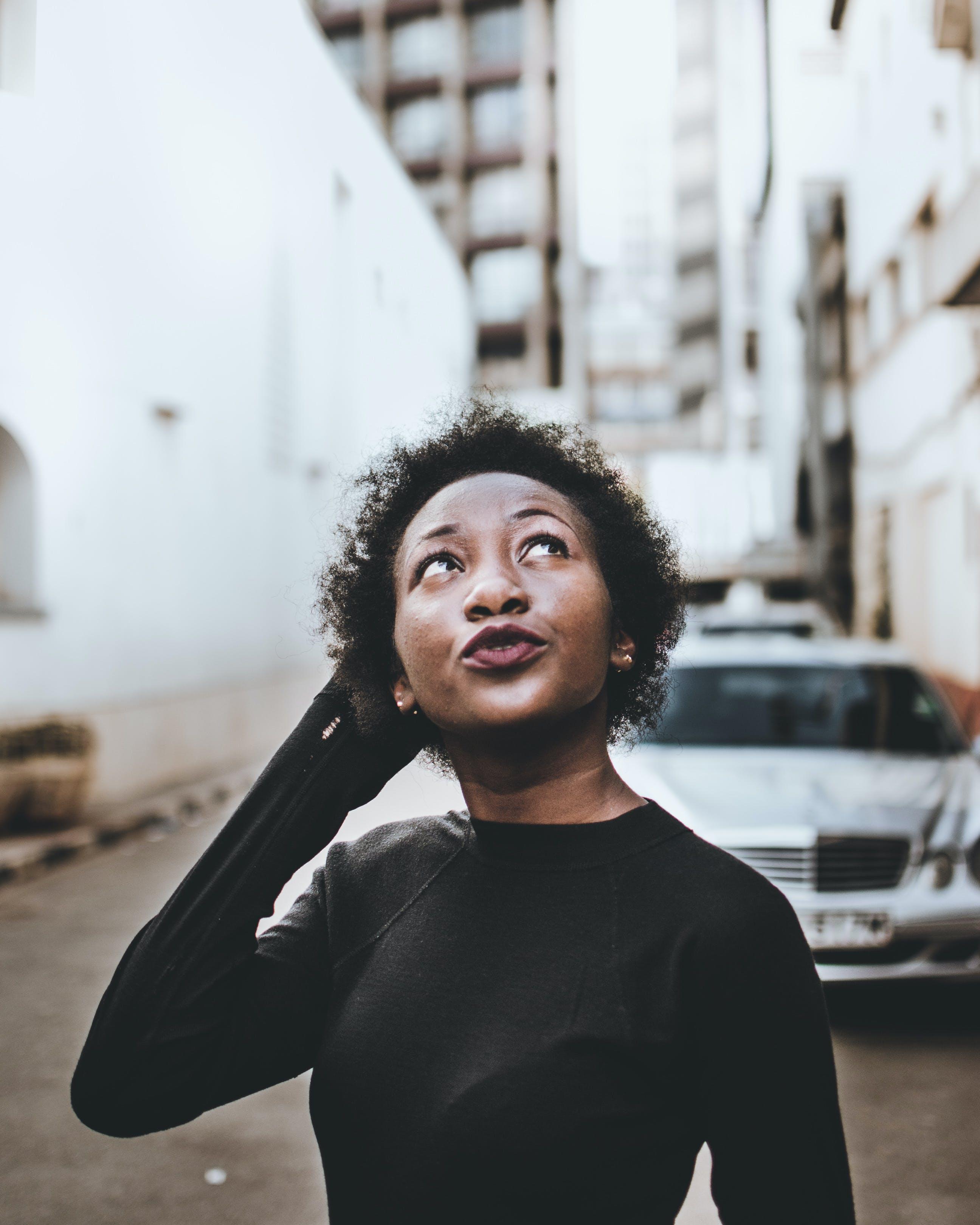 Woman In Black Long Sleeves Top