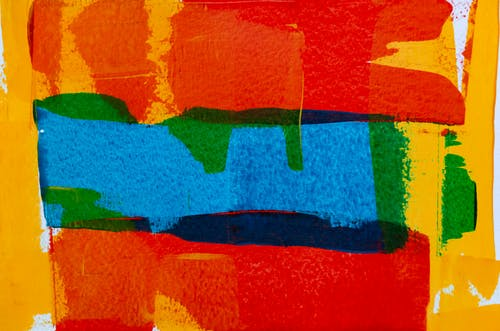 Blue, Red, and Green Abstract Painting
