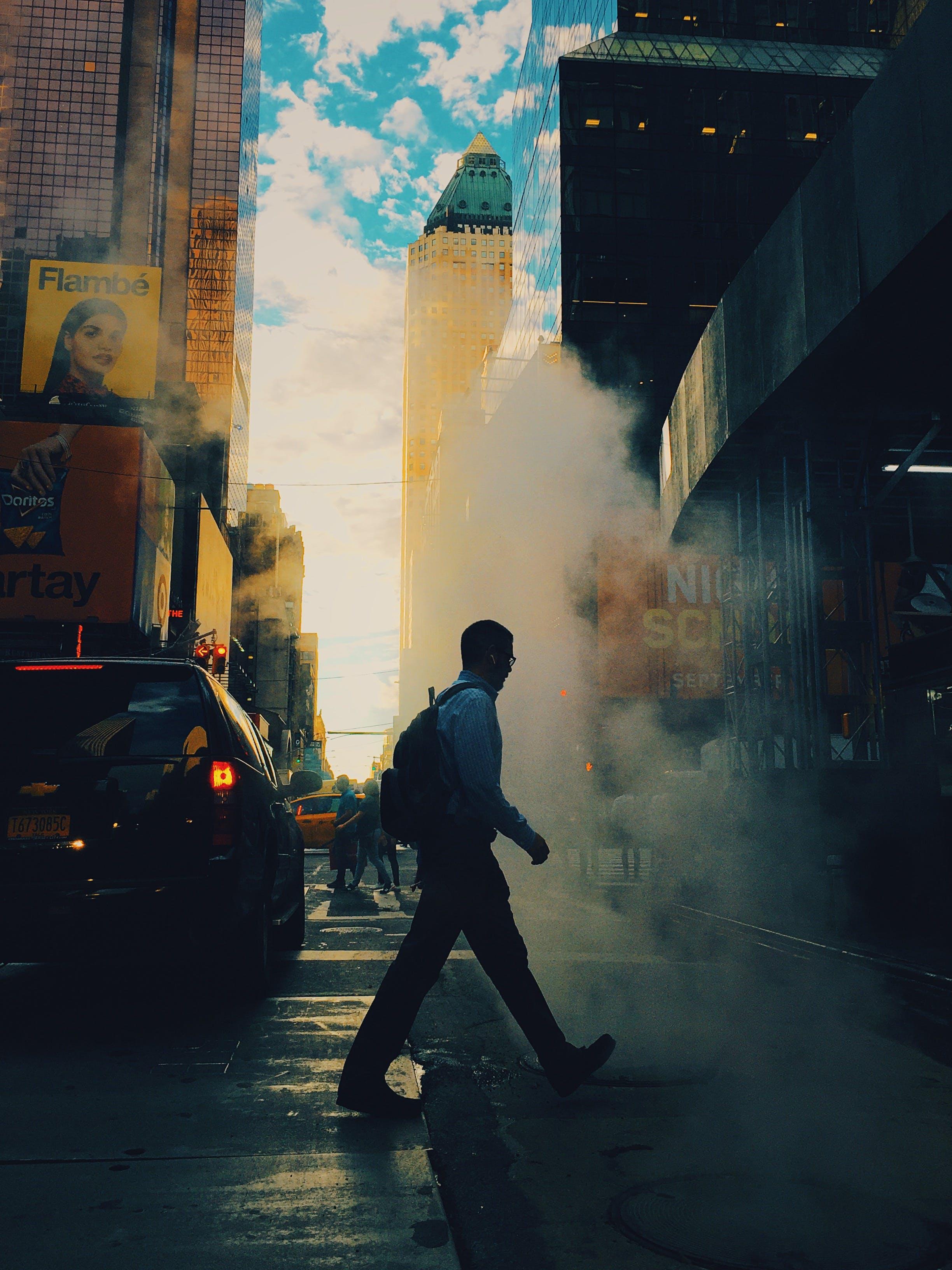 Man Passing Through Road
