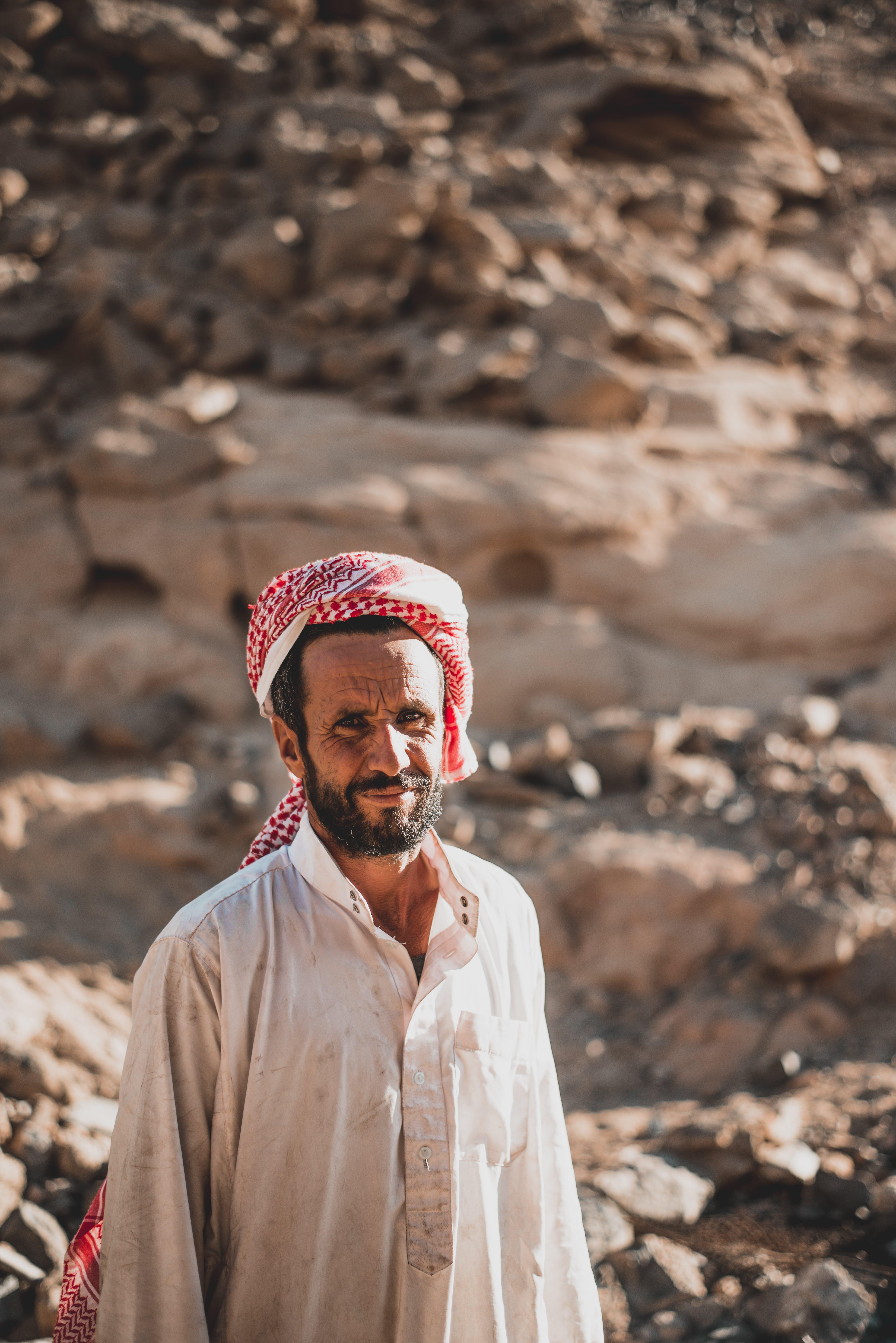 Shallow Focus Photo of Man Wearing Kefiyeh Headdress