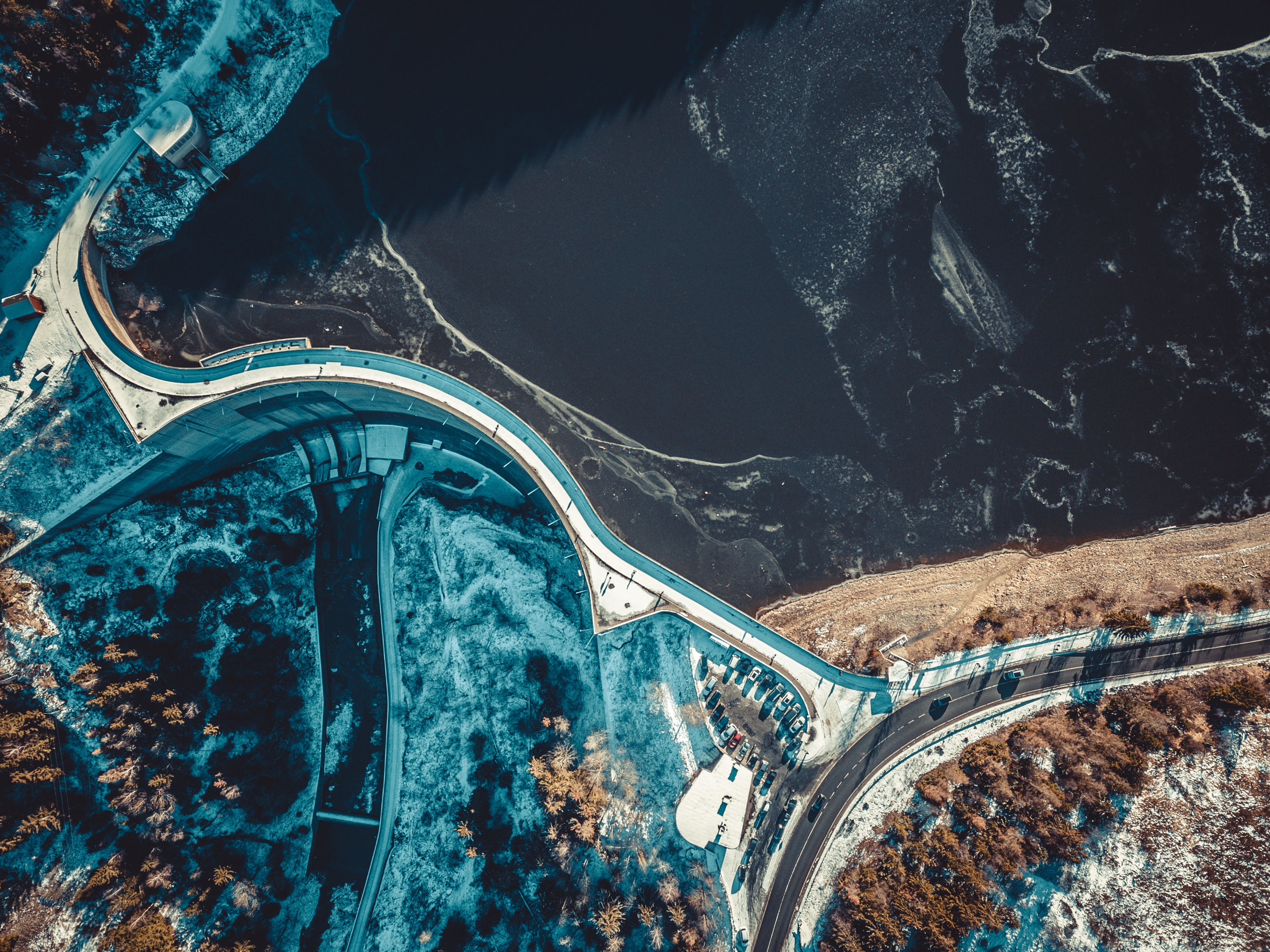 Top-view Photography of Road Near the Body of Water