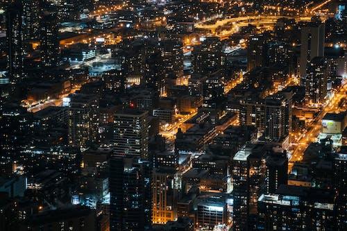 Kostenloses Stock Foto zu abend, gebäude, innenstadt, luftschuß