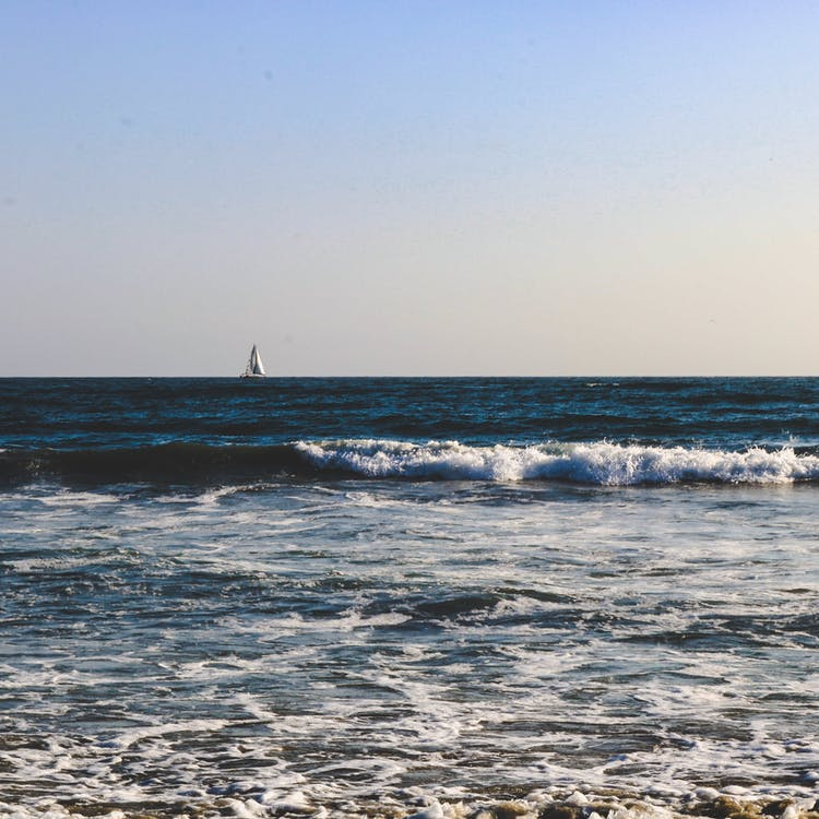 берег, волны, горизонт