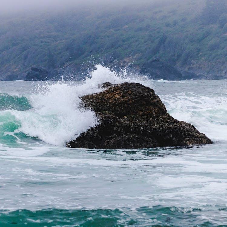 gelombang, gelombang bertabrakan, laut biru