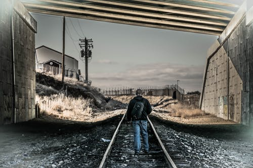 Free stock photo of album cover, man, overpass, railroad