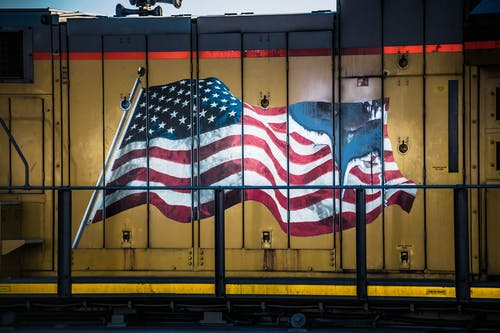 Free stock photo of American flag, train