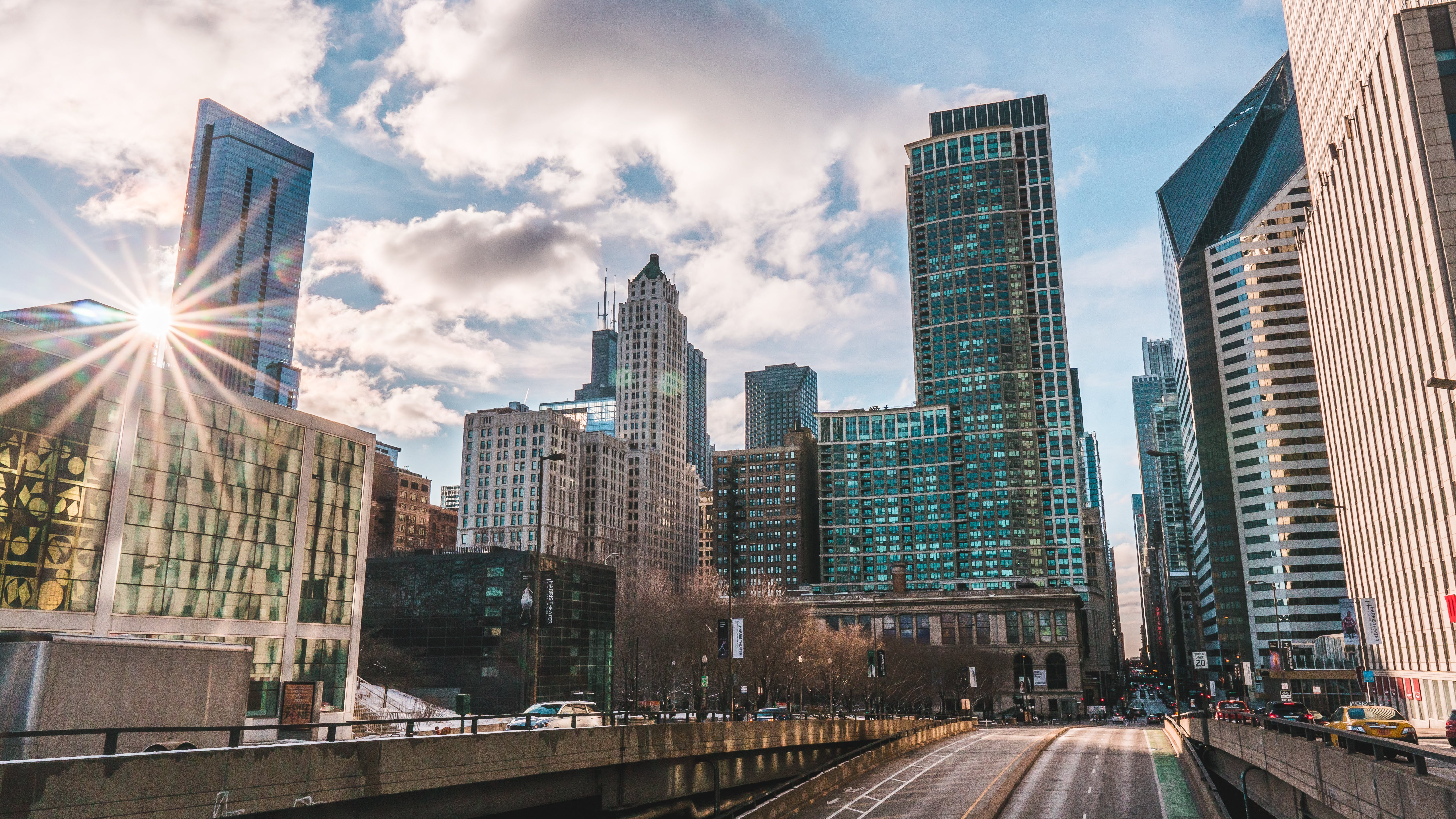 Free stock photo of chicago, downtown, street, sun star