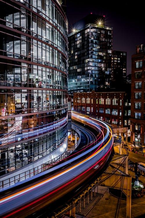 architectuur, avond, binnenstad