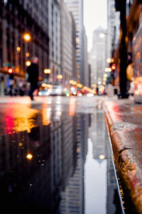 Kostnadsfri bild av gata, pöl, stadens centrum, trottoar