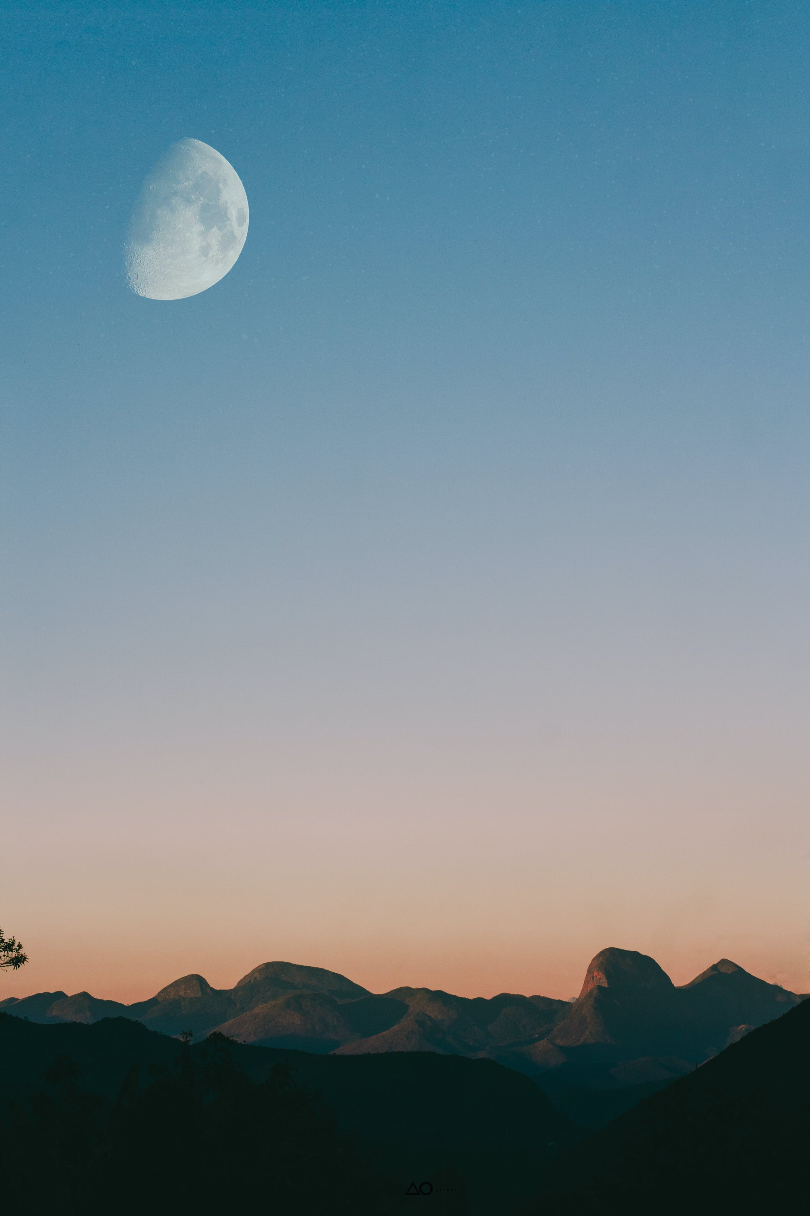 Moon Over Mountain Range