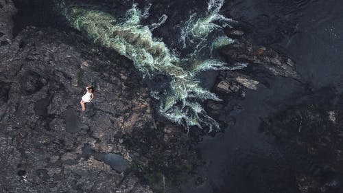 Aerial View of Woman Lying on Rock