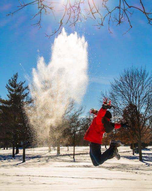 Бесплатное стоковое фото с веселье, ветер, зима, красная куртка