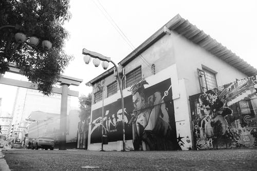 Monochrome Photography of Graffiti Wall