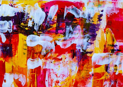 White, Pink, Yellow, and Purple Abstract Painting