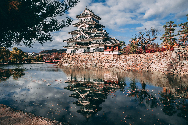 Pagoda Temple Near Lake Under Cloudy Sky