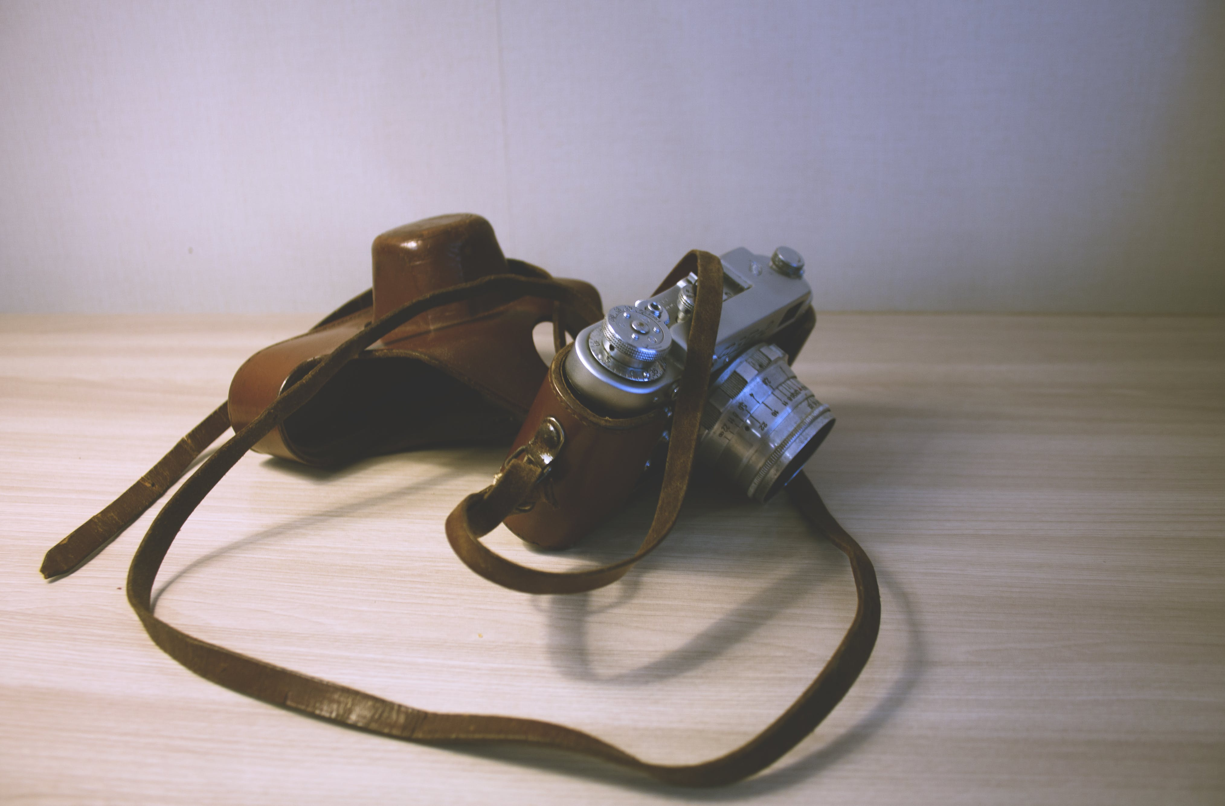 Free stock photo of analog camera, Analogue, camera, leather
