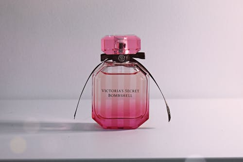 Victoria's Secret Bombshell Fragrance Bottle On White Surface