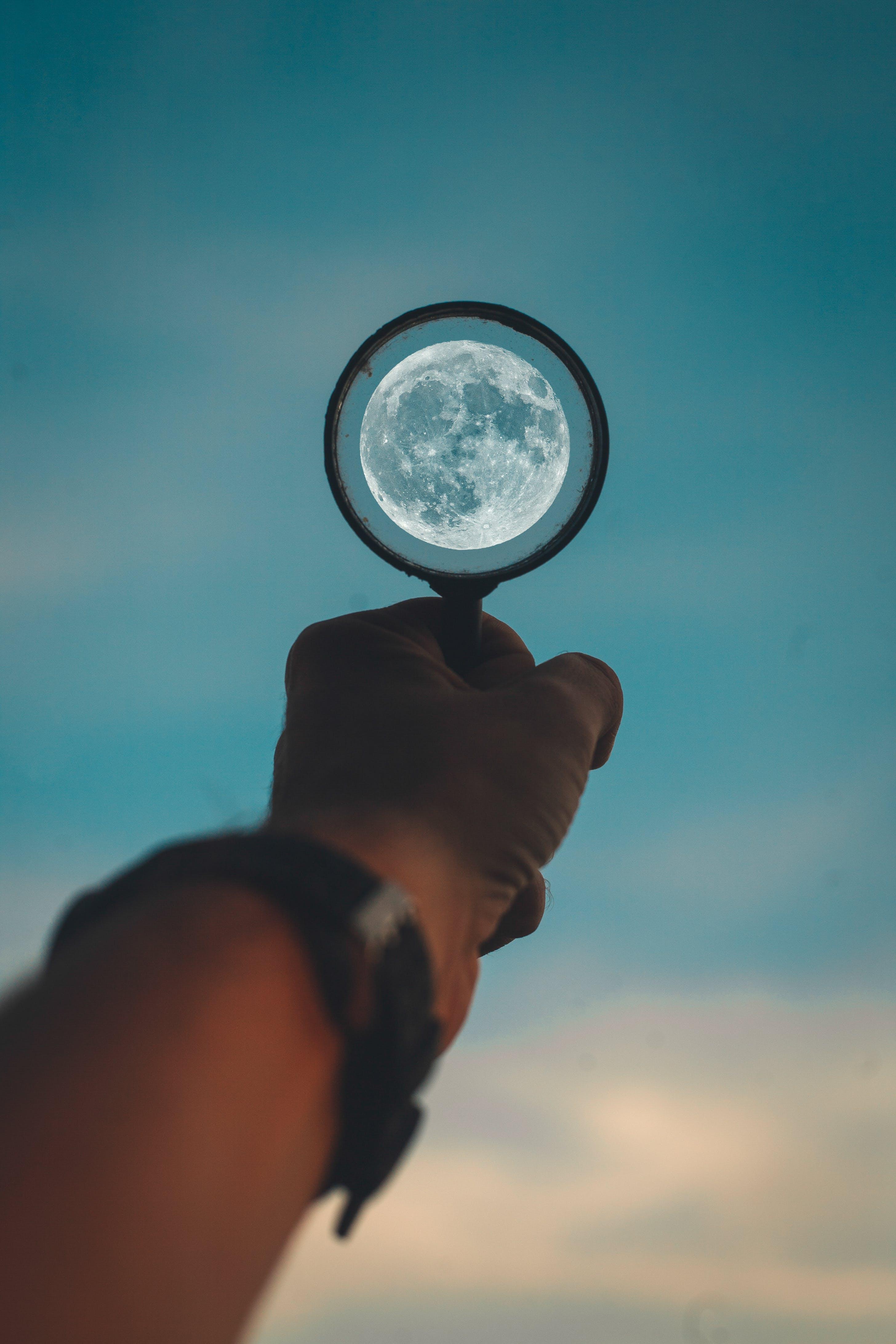 fokusere på månen, måne