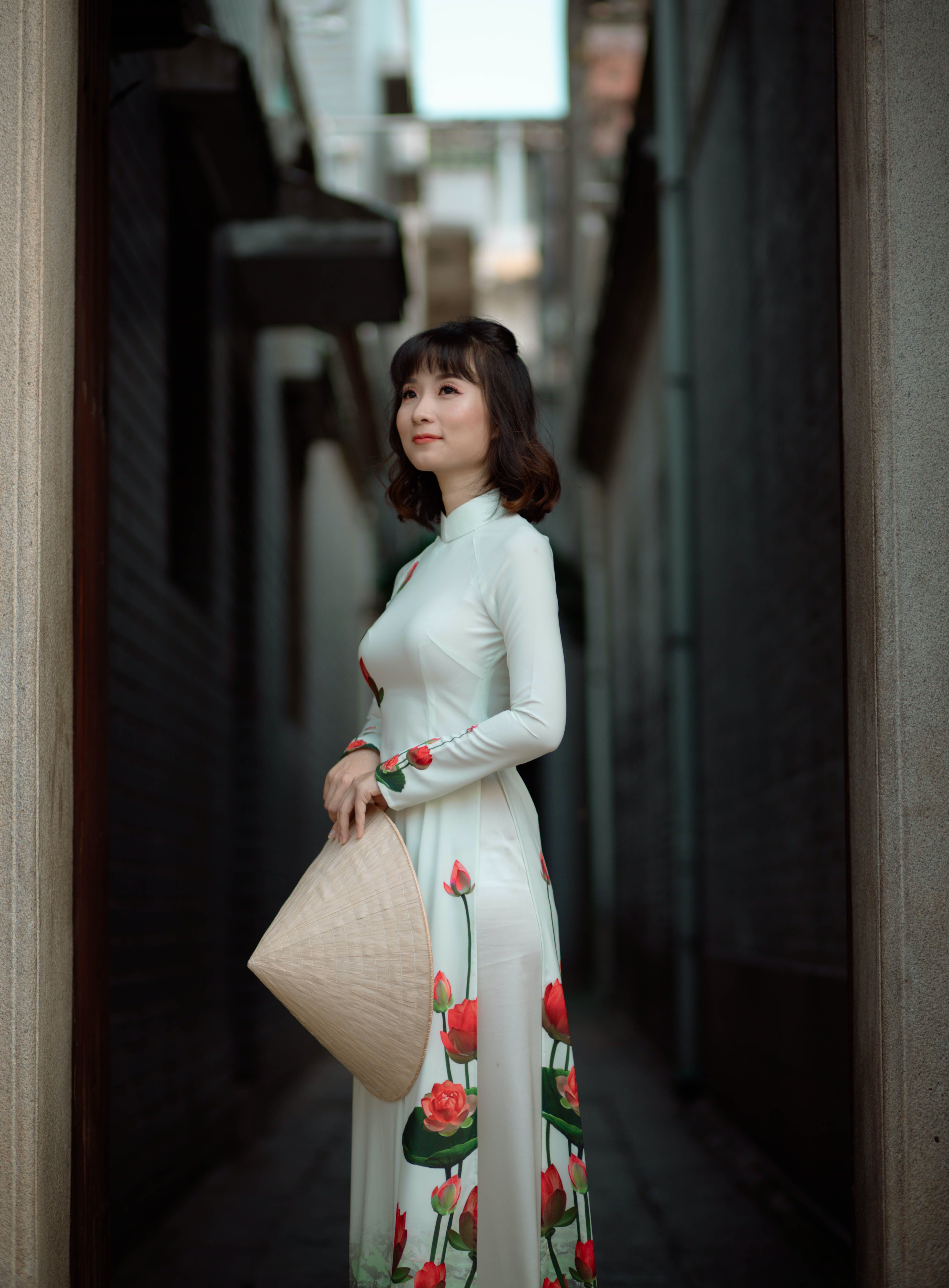 Lady In White Floral Dress
