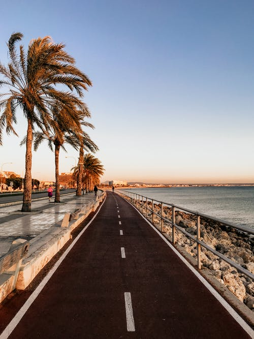 Asphalt Road Near Ocean Under Blue Skies