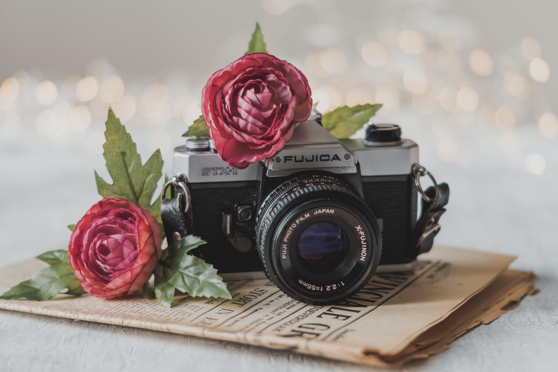 Close-Up Photo of Camera Near Flowers