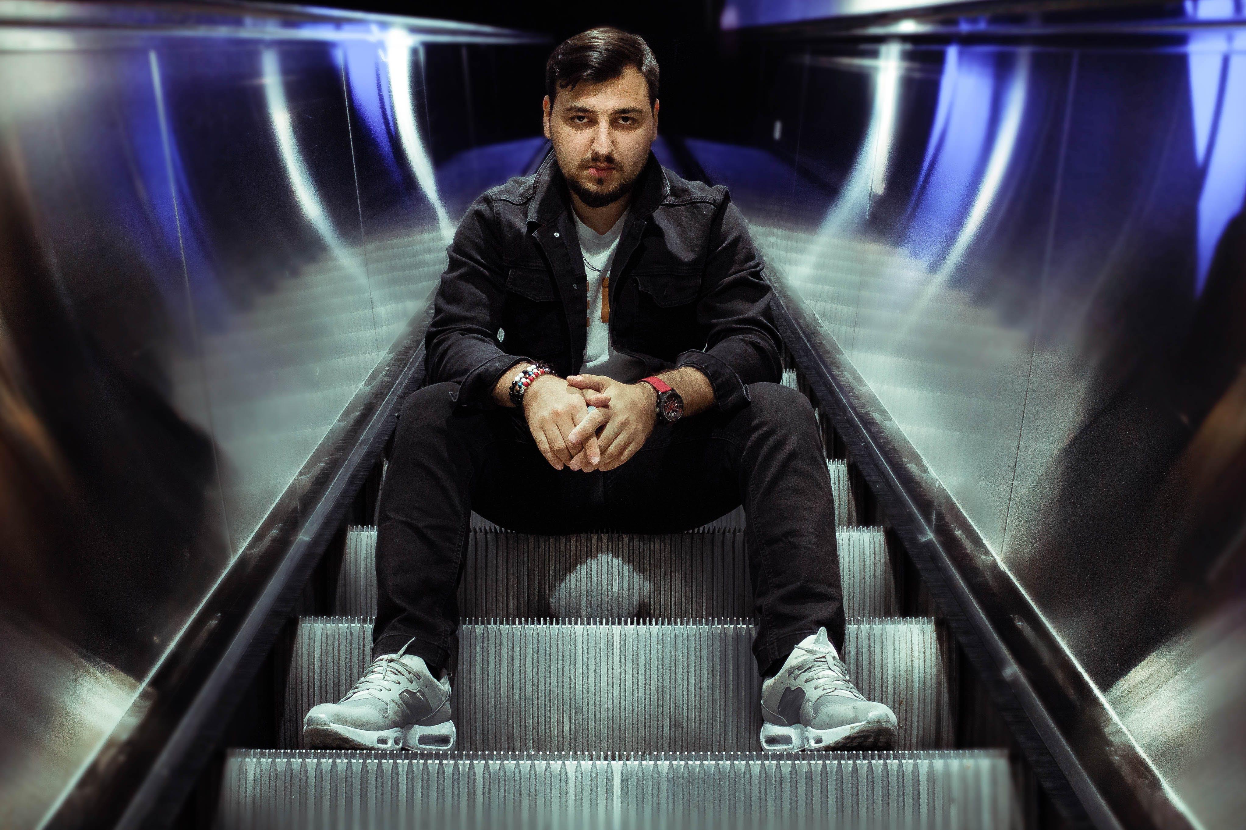 Free stock photo of escalators, fashion, men, metro