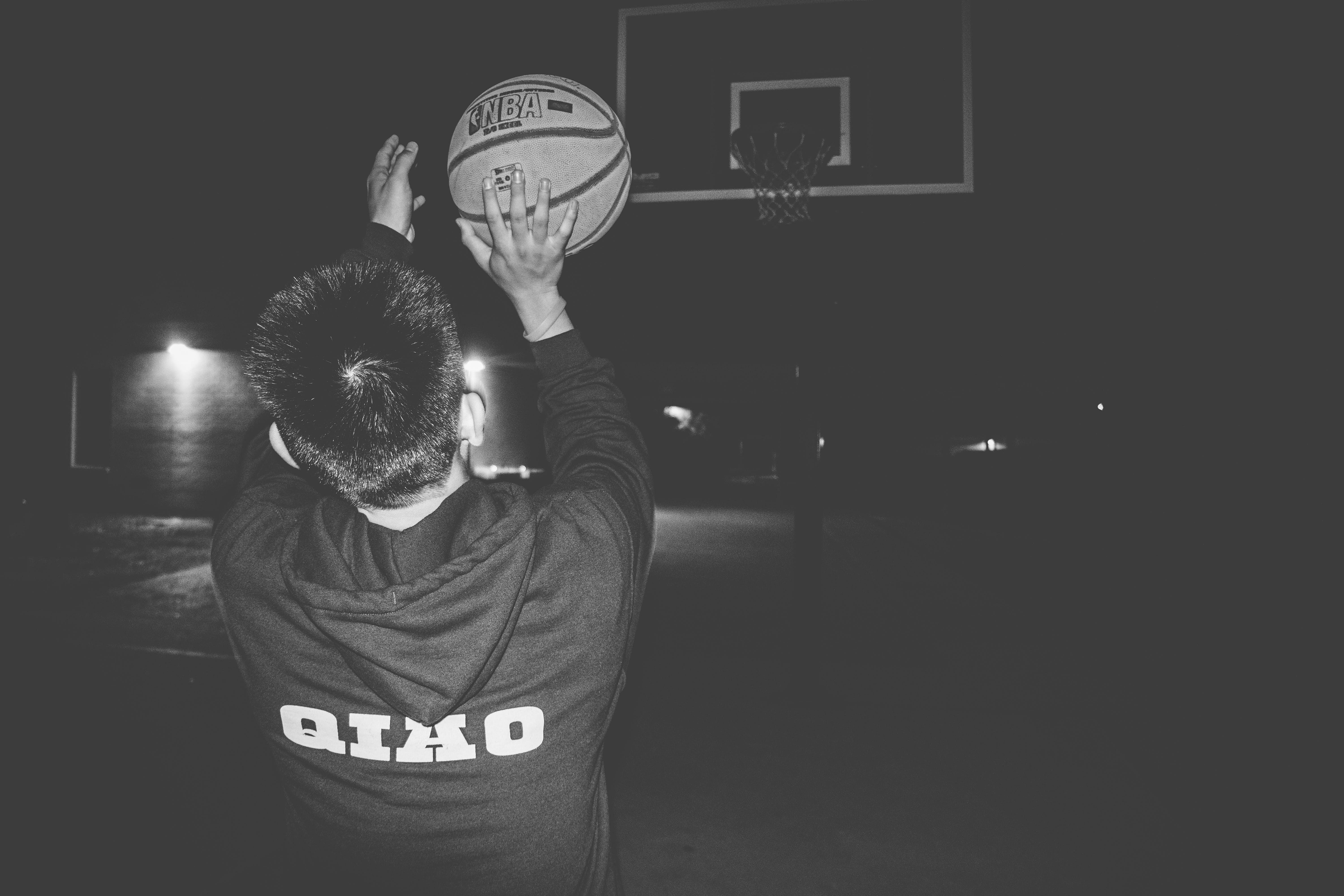Free stock photo of ball, basket, basketball, black and white
