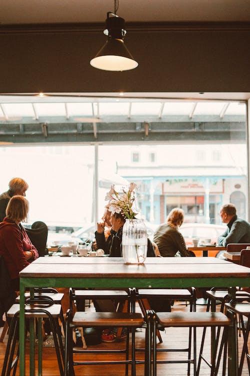 cà phê, ngồi, nhà hàng