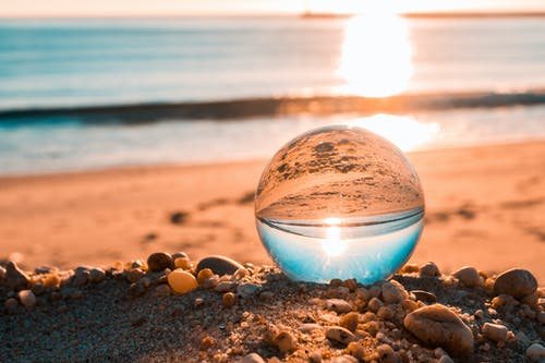 Clear Glass Ball on Brown Sands